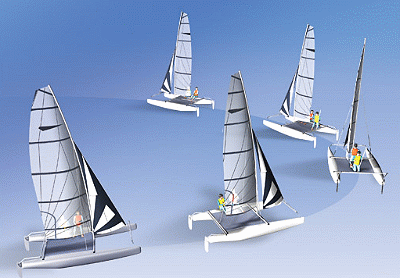 sailing catamaran tack